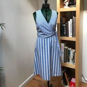 Blue and white striped A-line side tie dress